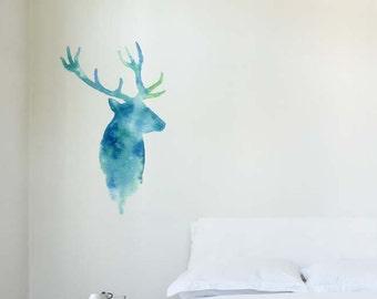 Watercolour Deer   Removable Wall Sticker   LSB0247CLR-S