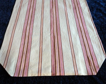 Vintage ticking mattress cover case handmade w French red striped linen ticking fabric, striped mattress toile, French fabric, sewing supply