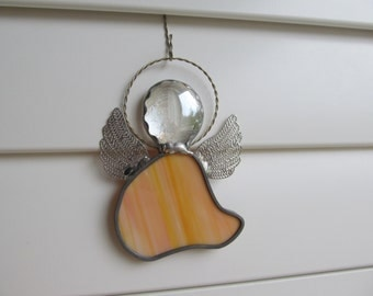 Stained Glass Angel Ornament - Orange and White Opal Glass with Crystal Gem Head - Twisted Wire Halo - Name Tags -Gift Tags
