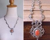 20% CNY SALE - Vintage 80's Silver Crescent Tribal Bib Orange Cabochon Filigree Necklace