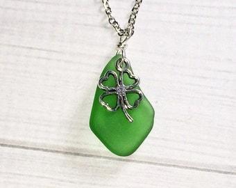 Peridot Green Sea Glass Necklace Stocking Stuffer Christmas Gifts Women's Necklace Clover Beach Jewelry Mom Girlfriend Friend Sister