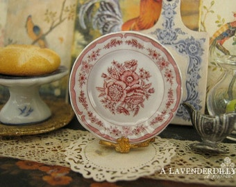 Floral Pink Toile Plate for Dollhouse