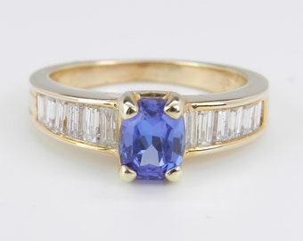 Diamond and Cushion Cut Tanzanite Engagement Ring Promise Ring 14K Yellow Gold Size 5.5