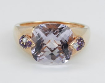 Diamond and Cushion Cut Amethyst Engagement Promise Ring 14K Rose Gold Size 6.75