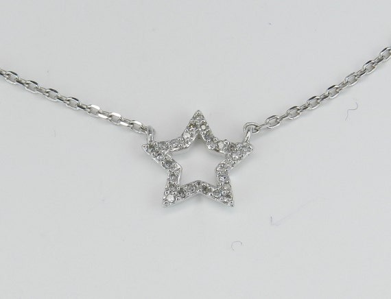 "Diamond Star Pendant Necklace White Gold 18"" Chain Wedding Gift"