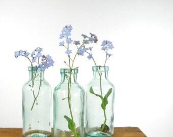 Three Aqua Glass Apothecary Bottles, Antique Blue Glass Bottles