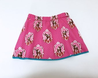 Pink Girls Skirt, Summer Girls Clothes, Pink Deer Skirt for a Girls, Toddler Skirt, 3T Skirt, 4T-5T Skirt, Little Girls Summer Clothes