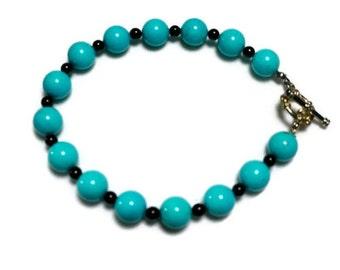 Turquoise and Onyx Bead Bracelet / Turquoise Beads / Onyx Beads / 8 inches Gemstone Bracelet
