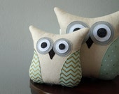 Owl Pillow - Mint and Gold Pillow - Accent Pillow - Neutral Decor - Home Decor - Mint and Gold - Chevron, Hearts or Polka Dot