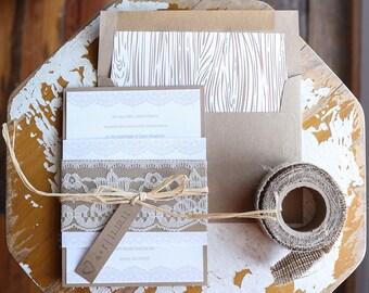 Rustic Country Chic Wedding Invitation