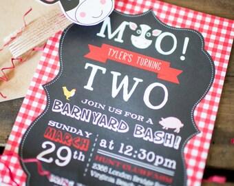 Moo, ______ is turning two! Barnyard animal birthday invitation, moo moo oink oink
