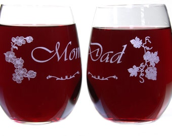 Mom and Dad Gift Stemless Wine Glasses - Cherry Blossoms and Grape Ivy - Choice of Titles - Crystal