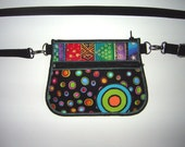 Hip Bag with zipper pocket Small Fanny Pack  mini belt bag Waist Pack -bike bicycle tote- Festival Wallet fabrics in rainbow black dots