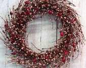 WREATH SALE READY To Ship! - Valentines Wreath - Red Heart & Pink Berry Wreath - Door Wreath - Pip Berry Wreaths - Valentine Wreaths - Valen