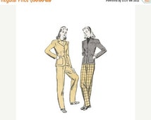 SALE 1940s Womena Jacket and Pants Pattern Butterick 2901 Tailored 3 Button Jacket & Slim Tapering Pants Size 14 Bust 32 Vintage Sewing Patt