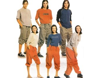 Unisex Baggy Roll Up Cargo Pants with Drawstring Waist Size Teen and Adult Large - XL Uncut McCalls 2635 Waist 30 to 37