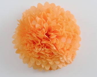 Paper pom pom in APRICOT color -  wedding decorations / party decor/ nursery decor/ bridal baby shower/ tissue paper pompoms / party poms