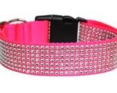 "Neon Pink Dog Collar 1.5"" Rhinestone Dog Collar"