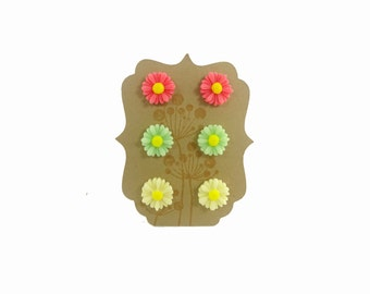 Flower Cabochon Earring Trio Gift Pink Green Yellow Daisy Set