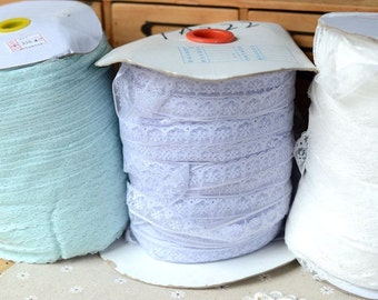 """50 meter 1.6cm 0.62"""" wide blue/light voilet/ivory mesh gauze tulle tapes lace trim ribbon mih45 free ship"""