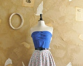 Vintage 1950s Two Toned Floral Strapless Dress -The One That Got Away-