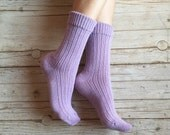 Knitted women socks, mauve wool knit socks