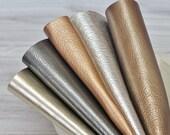 5pcs  Scrap Genuine Leather , Metallic Leather Offcuts