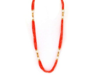 Long Coral Necklace 14k Gold Baroque Pearls