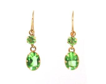 Art Deco  14k Gold Faux Peridot Drop Earrings