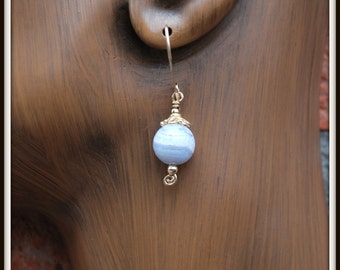 Blue Lace Agate Earrings, Blue Agate Earrings, Blue Lace Agate Gold Filled Earrings, Blue Lace Agate Dangles