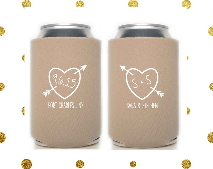 Personalized Wedding Can Cooler | Heart with Arrow | Bride and Groom | FREE Standard Shipping