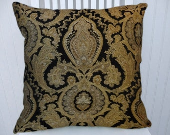 Black Gold Decorative Throw Pillow Cover- 18x18 or 20x20 or 22x22-Abstract Pillow Cover- Accent Pillow Cover