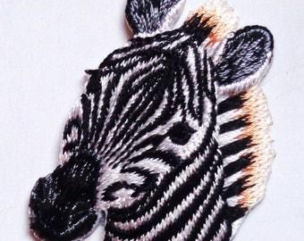Zebra head iron on embroidery