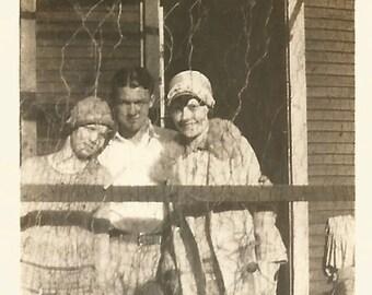 """Vintage Snapshot """"The Wire"""" Flapper Dress Chicken Coop Wire Cloche Boyfriend  Found Photo Paper Ephemera"""