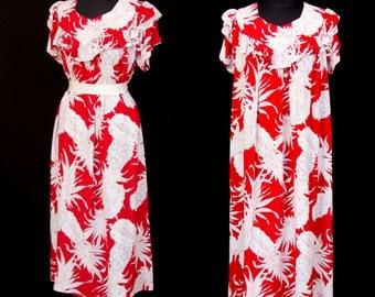 1940s Dress // Hawaiian Pineapple Print Red Rayon Muu Muu by Royal Hawaiian