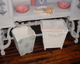 Vintage Wallpaper Trash Can Bin Pink Roses on Blue Chic Bathroom Storage Painted Wood