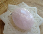 Simple modern rose quartz crystal necklace sterling silver chain statement