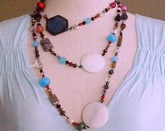 Extra Long Bohemian Necklace/Fire Agate/Jasper/MOP/Jade/Quartz/Aquamarine/Coral/Cat's Eye Multi Strand Wrap Necklace/Semiprecious Jelwelry