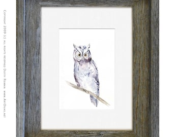 "Watercolor Owl Art Print by Dotty Reiman titled ""Hoot"" // Owl Print // Collectible Bird Decor // 5 x 7 print in custom 8 x 10 frame"