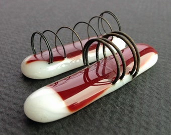 Fused Red & White Glass with Steel Springs