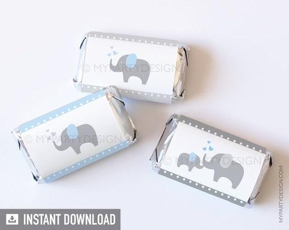 Elephant Mini Chocolate Wrappers Elephant Baby Shower Boy