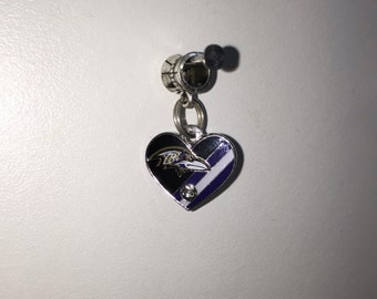 Baltimore Ravens heart charm