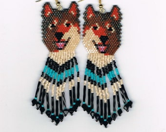 Laughing Red/Brown Wolf, Husky dog with turquoise in fringe
