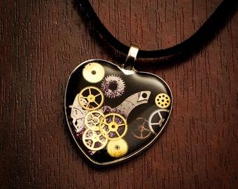 Steampunk Heart necklace - steampunk fashion, gears, gear heart, black heart pendant, steampunk pendant, steamfashion, gear necklace