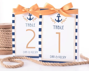 Nautical Wedding Table Number Tent Cards - Nautical Wedding Table Markers - Vintage Nautical Wedding Decor - Nautical Wedding Table Tents