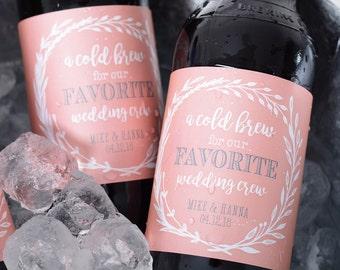 Vintage Wedding Beer Bottle Labels - Beer Labels - Custom Beer Bottle Labels - Personalized Beer Label - Waterproof Beer Labels