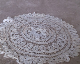 REDUCED  16 inch Battenberg Lace Scolloped Edge Doily