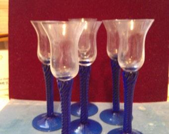 6 Aperitif Cobalt Stemmed Glasses