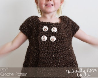 Crochet Pattern: The Sally Swing Sweater -2/3T, 4.5T, Child 6/7, Child 8/10, Child 12/14(AdultXSM)- button, fall, short sleeve, apple