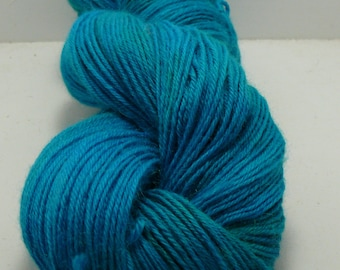 Hand Painted Mill Spun Baby Alpaca Turquoise and Green Sportweight - 200 yards!